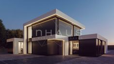 Casa prefabricada de hormigón modelo Masnou 4D 2P 2.305 - inHAUS Modern House Facades, Modern Buildings, Modern Architecture, Modern Fence Design, Modern House Design, House Plans Mansion, Small House Interior Design, Luxury Homes Dream Houses, Architect House