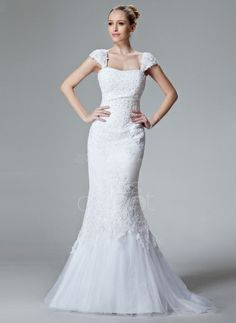 Trumpet/Mermaid Sweetheart Sweep Train Satin Tulle Wedding Dress With Lace Beading (002000438) http://www.dressdepot.com/Trumpet-Mermaid-Sweetheart-Sweep-Train-Satin-Tulle-Wedding-Dress-With-Lace-Beading-002000438-g438 Wedding Dress Wedding Dresses #WeddingDress #WeddingDresses