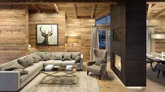 Innenraum Renderings für ein Chalet in Kitzbühel - Selina - kSresim Pin Ski Chalet Decor, Chalet Design, Chalet Chic, Chalet Interior, Chalet Style, Alpine Chalet, Alpine House, Country Style Living Room, Home Living Room