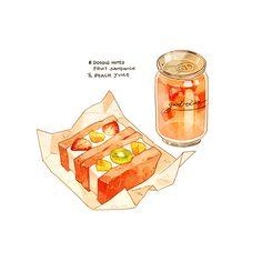 Cute Food Drawings, Kawaii Drawings, Cute Food Art, Cute Art, Fruit Sandwich, Recipe Drawing, Dessert Illustration, Watercolor Food, Food Wallpaper