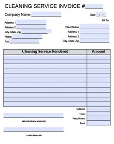 cleaning company invoice