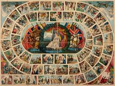 Board game showing events during the reigns of British Sovereigns. Britain, 1840