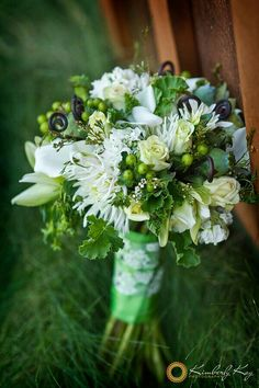 Green & White Wedding Bouquet With Lots Of Texture: White Spider Mums, White Mini Callas, Light Green Spray Roses, Green Hypericum Berries, Green Poppy Pods, Green Bupleurum,  Fiddleheads (Fern Shoots) & Additional Greenery/Foliage>>>>
