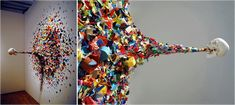 This sculpture by graffiti artist Typoe, entitled Confetti Death, is one piece from a larger series of conceptual works from the Miami based artist. It's pretty and spooky all at once. Art Mort, Death Art, Art Plastique, Skull Art, Looks Cool, Community Art, Oeuvre D'art, Installation Art, Art Installations