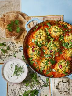 Sabrina Ghayour's full-of-flavour meatballs, also known as koofteh berenji, are made with lots of fresh herbs and spices. They are best served with fl