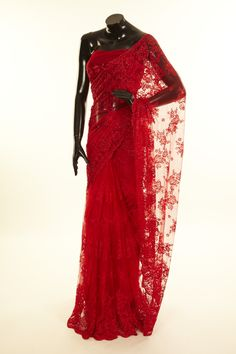 """bold and sexy red lace saree/""""CANCER (MOON-ruled) in 8th HOUSE (SCORPIO/PLUTO's domain). I have2 planets here: VENUS & MARS."""" ~smr"""