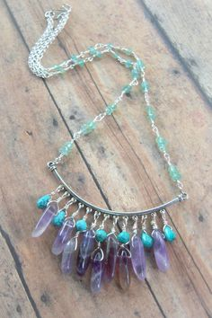 Faceted Turquoise Amethyst Faceted Apatite Wire by Cheshujewelry, $52.00