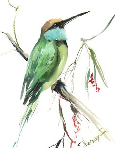 Green Bee Eater original waterocolor painting 12 X by ORIGINALONLY, $34.00