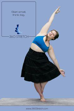 Curvy girl Dana Falsetti doing tree pose in plus size women's 360 Stretch jeans.