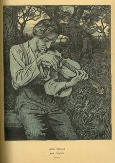 Hans Thoma ~ Der Geiger (The Fiddler), 1895 (three-color lithograph)