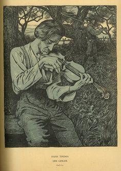 Hans Thoma ~ Der Geiger (The Fiddler), 1895 (three-color lithograph) Thomas Carlyle, Hans Holbein, Caspar David Friedrich, Piano Y Violin, Violin Art, Hans Thoma, Carl Spitzweg, Expressionist Artists, Black And White Drawing