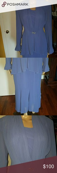 🎉 10% OFF SALE 🎈🎈🎉🎉Blue 2 Piece gown New, Never worn. Blue 2 Piece blouse. Has the the dress and a blouse to cover. Dry Clean only. Bought from Boutique. S.L Fashion Dresses Maxi