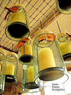 The springs from a baby's mattress can be reborn into a great ceiling fixture. Create a rustic look by hanging candles or single light bulbs. Love these hanging mason jar candle holders! Old Baby Cribs, Old Cribs, Mason Jar Candle Holders, Mason Jars, Home Made Simple, Hanging Candles, Painting Trim, Down On The Farm, Bees Knees