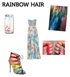 """#rainbow hair"" by valenzheidy ❤ liked on Polyvore featuring beauty, Parker, Salvatore Ferragamo and Free People"