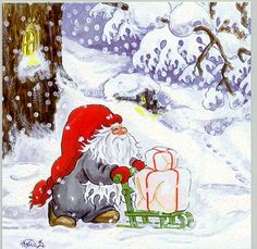 A happy little gnome bringing home some presents. Swedish Christmas, Christmas Fairy, Scandinavian Christmas, Christmas Pictures, Christmas Crafts, Christmas Decorations, David The Gnome, Advent, Baumgarten
