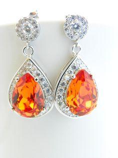 Orange Wedding Earrings, Tangerine Swarovski Earrings by EstyloJewelry