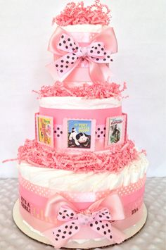 Little Golden Book Baby Diaper Cake in Pink and Brown, Book Themed Baby Shower Centerpiece by AllDiaperCakes on Etsy
