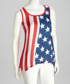 Take a look at this Red American Flag Tank - Women by Fourth of July: Apparel & Accessories on @zulily today!