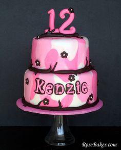 A Girly Pink Camouflage Cake!  Visit @RoseBakes.com for details.