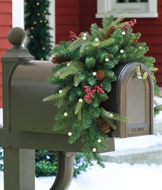 2013 Christmas mailbox cover decor, LED pine and conebranch mail box decor #2013 #christmas #mailbox #decor www.loveitsomuch.com