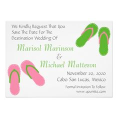 07a0173de Flip Flops Save The Dates (Pale Pink   Green) Custom Invites Wedding  Invitation Sets