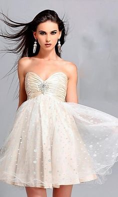 short prom dress with sweetheart neckline and cute brooch
