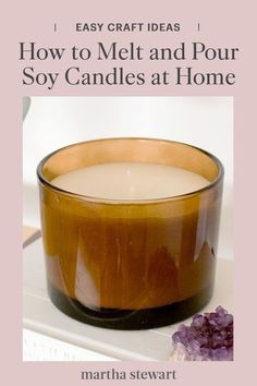 Learn how to melt and pour your own easy candles that are naturally scented with essential oils, for a signature fragrance and warm ambiance at home in a few steps. Plus, these DIY soy candles make great handmade gifts! #marthastewart #crafts #diyideas #easycrafts #tutorials #hobby