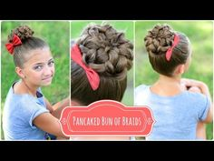 Pancaked Bun of Braids | Cute Girls Hairstyles. New as of 7/20/14 http://www.youtube.com/watch?v=TyMZJqYmrwE