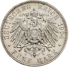German Empire silver coin J. 19-178 - Bremen 5 Mark 1904 J coat of arms without pearl circle. Herewith it concerns at seeming about the rarest, off...