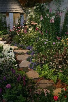 flagstone garden path..someday I would love our entire side yard to be like this...NO MORE GRASS!!!