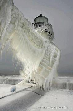 Frozen Harbor Lighthouse Benton Harbor on Lake Michigan St Joseph North Pier Berrien County, Michigan USA