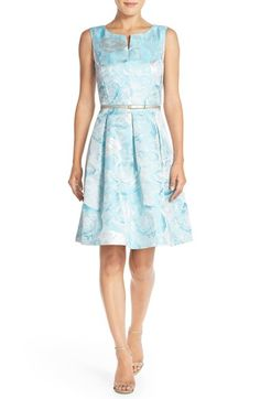 Ellen Tracy Belted Metallic Jacquard Fit & Flare Dress available at #Nordstrom
