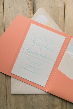 Mint Letterpress Wedding Invitations with Coral and Watercolor Floral Details! | Mint Letterpress, Coral and Mint Wedding Invitations, Diane Suite, Floral Wedding Invitations, Coral Pocket Folder, Floral Envelope Liner, Just Invite Me, Wedding Invitations
