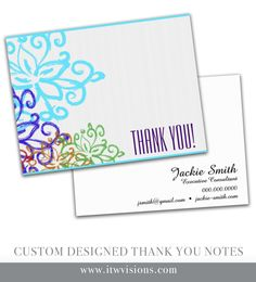 Custom designed thank you note cards...digital file available or they can be printed for you on quality stock.  Kindly visit itwvisions.com to shop other thank you note cards and business cards as well.  These are very popular with Rodan and Fields consultants.  Paired well with mini-facial instruction cards.