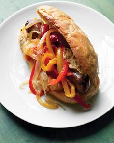 of 20 > Turkey Sausage Sandwiches Sweet sauteed bell peppers and onions top sweet or spicy Italian turkey sausage. Serve the sausages on hoagie rolls or crusty French bread, topped with mustard if desired. Get the Turkey Sausage Sandwiches Recipe Sausage Sandwich Recipes, Sausage Sandwiches, Wrap Sandwiches, Lunch Recipes, Cooking Recipes, Easy Recipes, Gourmet Sandwiches, Steak Sandwiches, Delicious Sandwiches