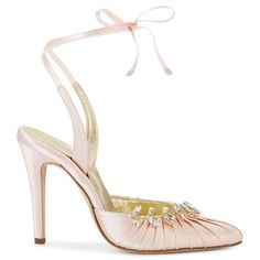 Sarah Flint Luisa Pump 100 ($1,095) ❤ liked on Polyvore featuring shoes, pumps, light pink satin, leather shoes, metallic leather shoes, light pink pumps, real leather shoes and tie shoes