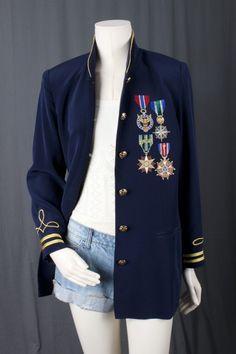 Band jacket military jacket pilot coat badges medals of honor Bohemian boho Gypsy women size M L medium Large