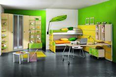 Modern Kids Furniture for Your Beloved Kids Creativity : Bright Green Kid Room Interior With Modern Kids Furniture