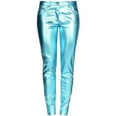 Boutique Moschino Casual Trouser ($440) ❤ liked on Polyvore featuring pants, turquoise, zipper pants, 5 pocket pants, zip pants and blue pants