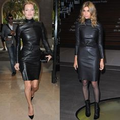 The sheer black hose makes a come back.    Gives your leather an updated look.  #blackleather #leather #dress