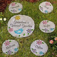 A Personal Creations Exclusive! A unique and lasting way to brighten her garden, our pretty mosaic stepping stones are made of durable, all-weather cast resin and feature brightly colored mosaic tiles.