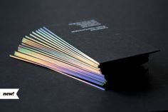 Business cards with hologram foil edges