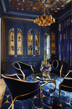 Bold Navy & Gold Parlour, with gold leaf ceiling details, custom cabinets &a. - Home Decoration Home Interior Design, Interior Architecture, Interior Decorating, Color Interior, Classic Interior, Luxury Interior, Gothic Interior, Decorating Ideas, Vintage Interior Design