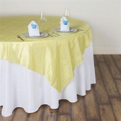 """60""""x60"""" Square Yellow Crinkle Crushed Taffeta Table Overlay Rainbow Wedding Decorations, Rainbow Wedding Dress, Paper Decorations, Parties Decorations, White Round Tablecloths, Floral Tablecloth, Folding Chair Covers, Table Overlays, Chair Sashes"""