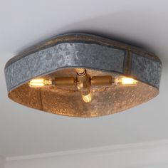 Galvanized metal with a modern twist; this square flush mount with raw, solid brass hardware highlights the brass detail on the seam and the edge. Making this funky, yet rustic fixture a versatile addition to any space. Drum Ceiling Lights, Ceiling Light Shades, Rustic Tin Ceilings, Corrugated Tin, Rustic Master Bedroom, Ceiling Light Fixtures, Galvanized Metal, Silver Lake, Industrial Chic