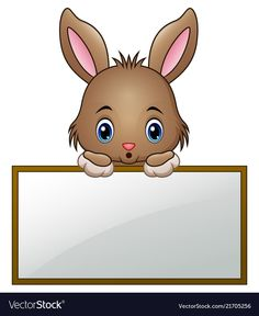 Cartoon little bunny holding an empty sign vector image on VectorStock Spring Crafts For Kids, Diy For Kids, Vegetable Cartoon, School Frame, Kids Labels, Cute Frames, Alphabet Coloring Pages, Kids Stickers, Paper Frames