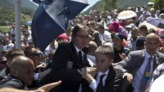 Outrage erupted at Saturday's commemoration of the 1995 Srebrenica massacre in Bosnia, as a shouting crowd threw bottles and rocks at Serbia's Prime Minister, forcing him to flee.