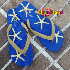 Sea Life Navy and Gold Starfish Flip Flops
