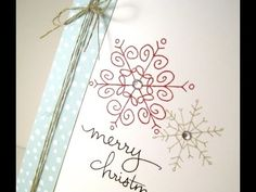 Merry Monday Video on how to create this card with Stampin' Up! Endless Wishes Christmas Card Crafts, Homemade Christmas Cards, Stampin Up Christmas, Xmas Cards, Homemade Cards, Holiday Cards, Christmas Ideas, Snowflake Cards, Snowflakes