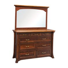 An Amish Hand Made Lincoln Park Bedroom Collection. Pictured here is a 8 Drawer Dresser (Optional Mirror) With ultimate Quality details. Hand Crafted in your choice of all the Northern Hardwoods We Offer on All our Amish Hand build Products. Starting Prices in Solid Northern Plain Cut Oak and upgrading in your choice of Solid Maple, Quarter Sawn White Oak, Maple, Cherry or Walnut! We Offer Custom Sizes and endless finish choices from Natural to Ebony.